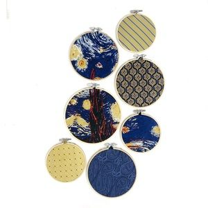 Necktie wall hanging set, Starry Night blue yellow